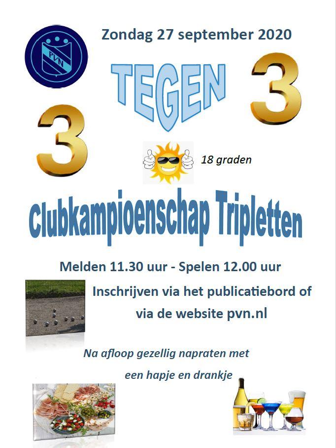 Tot nu toe 12 teams voor de tripletten club kampioenschap